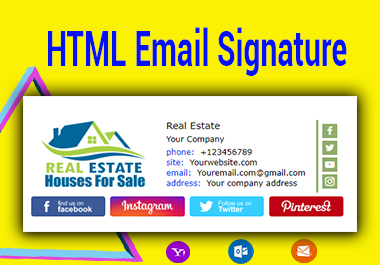 Design Clickable HTML Email Signature professionally