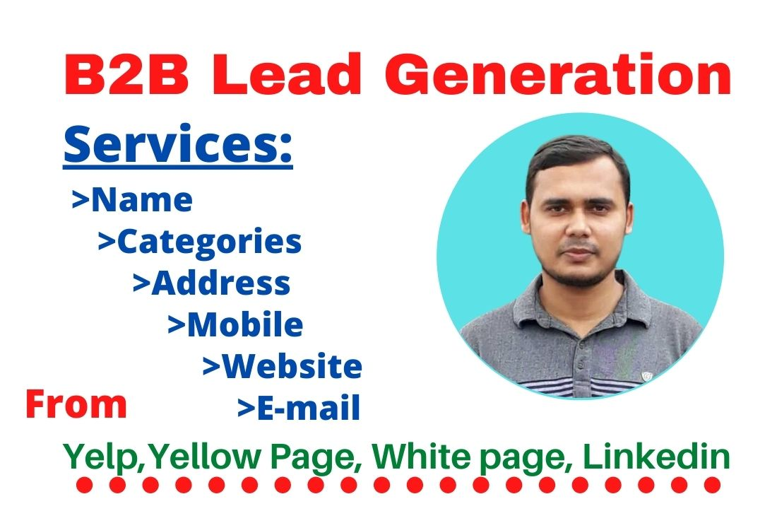 I will do b2b lead generation targeted email list,web scraping and web Research 50 Leads.
