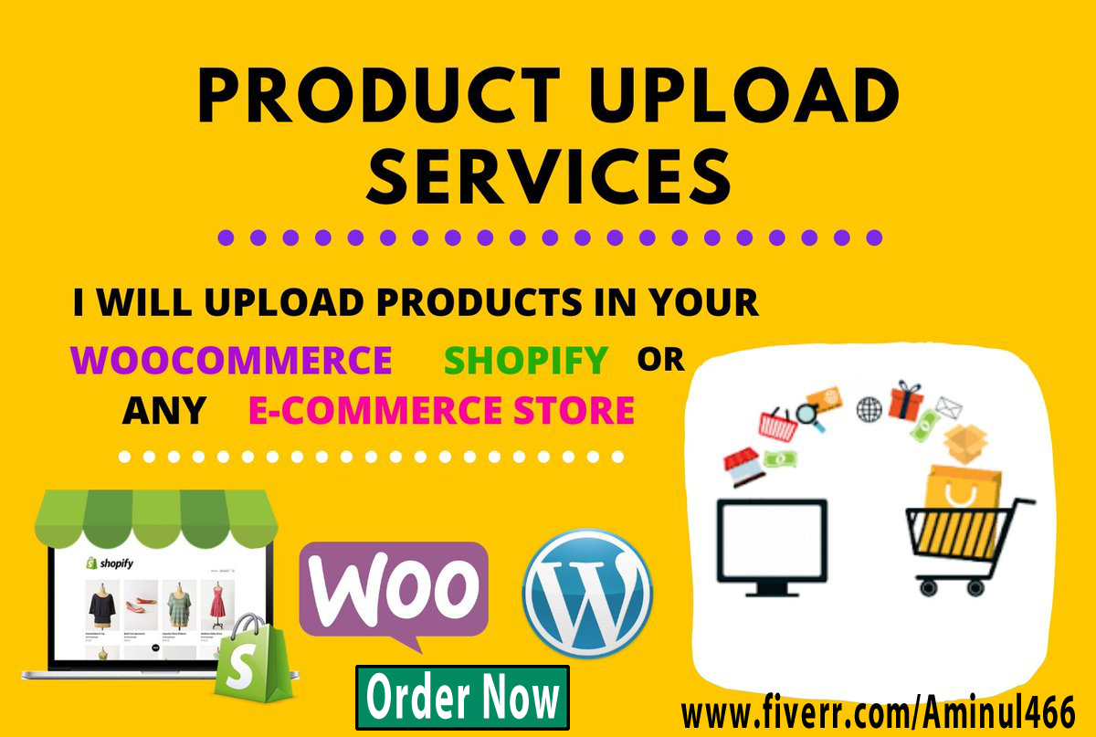 I will upload 25 products in your woocommerce and shopify store