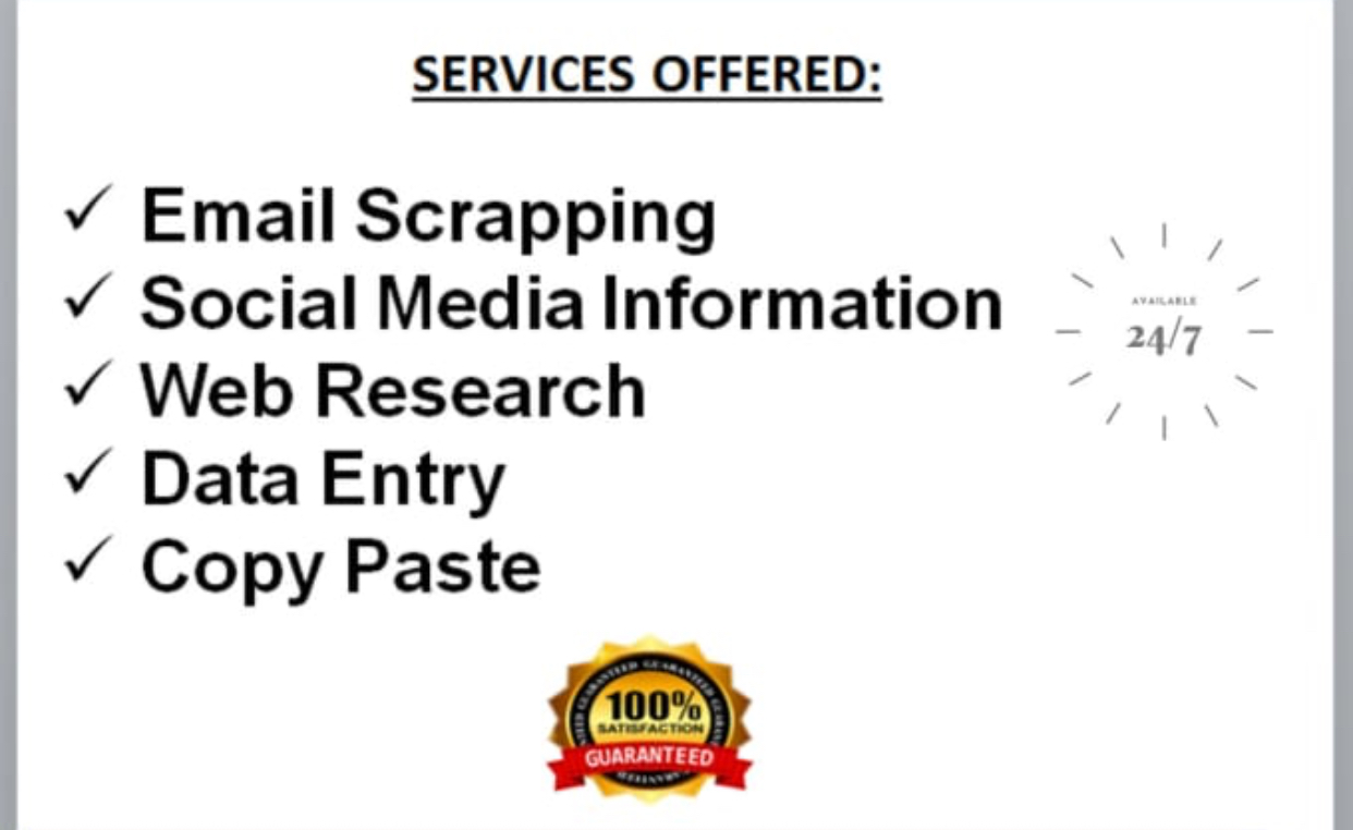 I will be your virtual assistant for fastest data entry and data research.