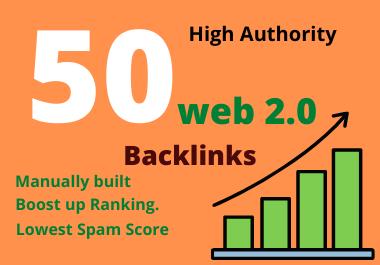 50 manually built web 2.0 high authority backlinks