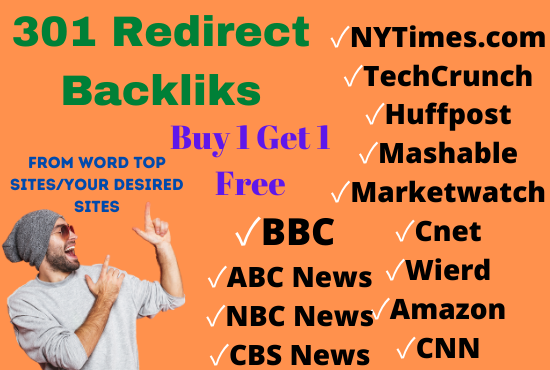 301 redirect permanent backlink from top sites forbes , nytimes, bbc, marketwatch, huffpost, cnn,