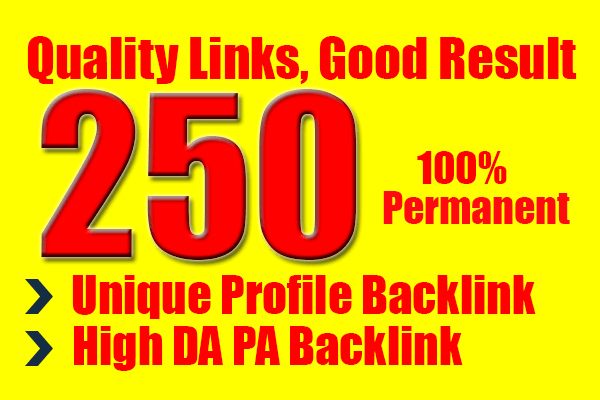 I will do create for you 250 unique profile high pr seo backlinks
