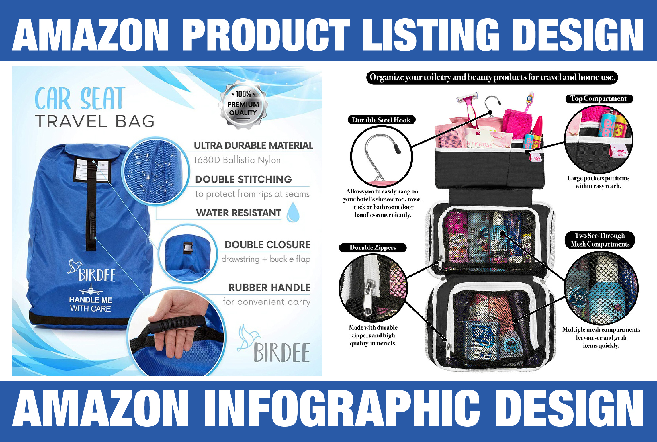I will do amazon product photography editing,  listing,  infographic design