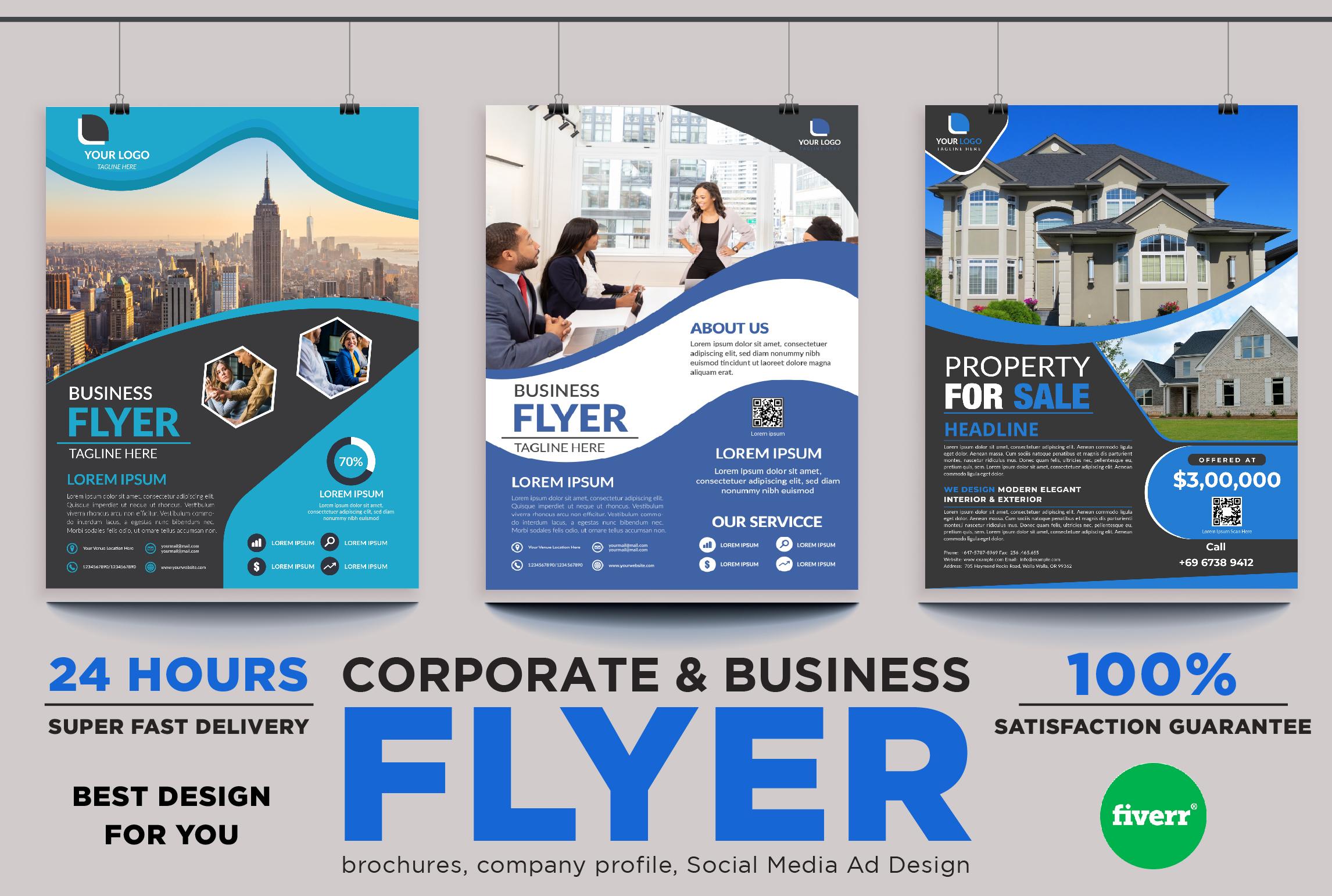 I will design creative corporate flyer design, brochure or leaflet design