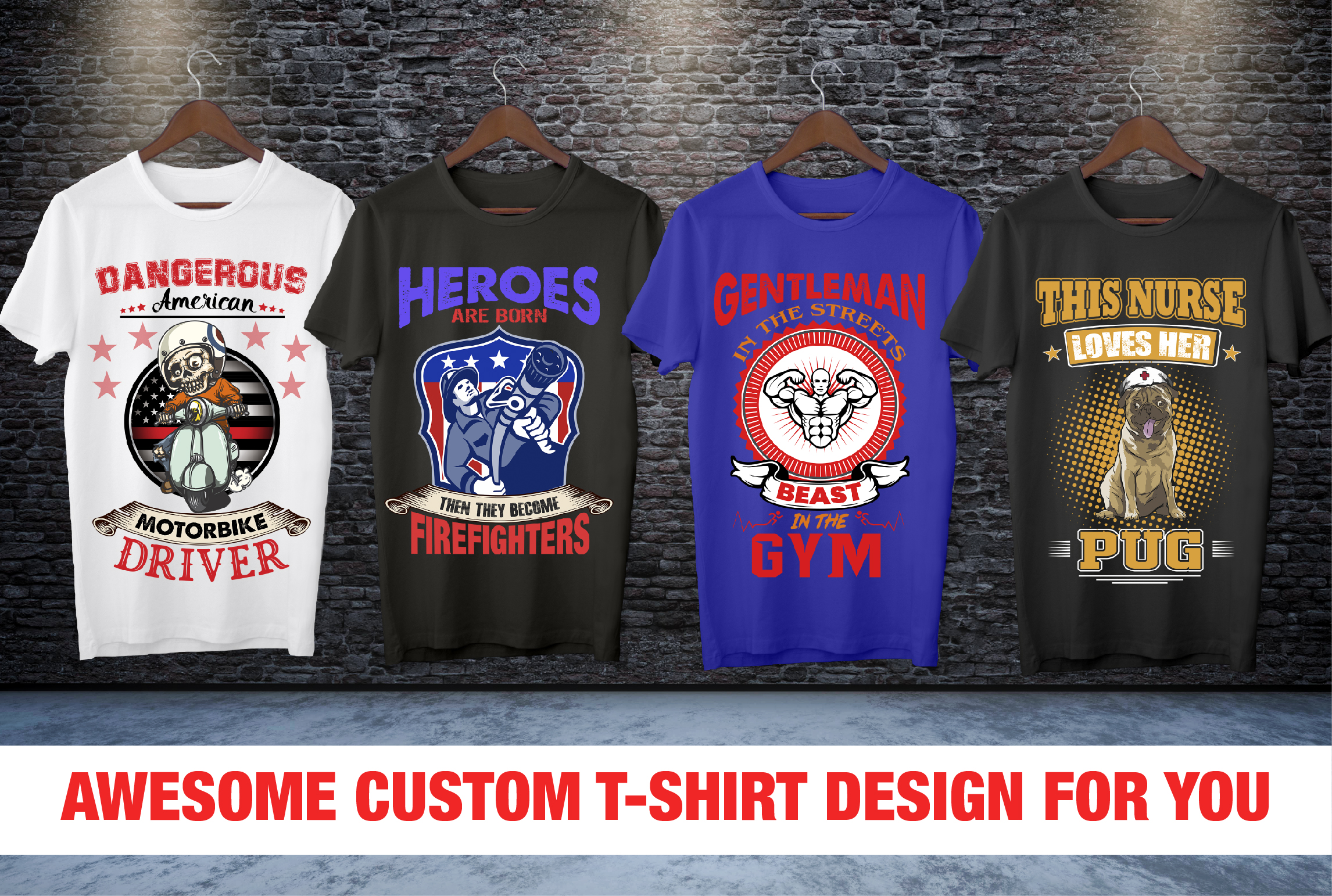 I will design custom t shirt design