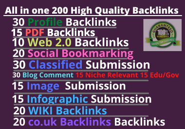 200 All in one High Quality Manual SEO Backlinks for Rank your website