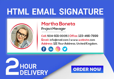 Professional clickable HTML email signature