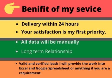 I will give you targeted b2b lead generation service for your business progress