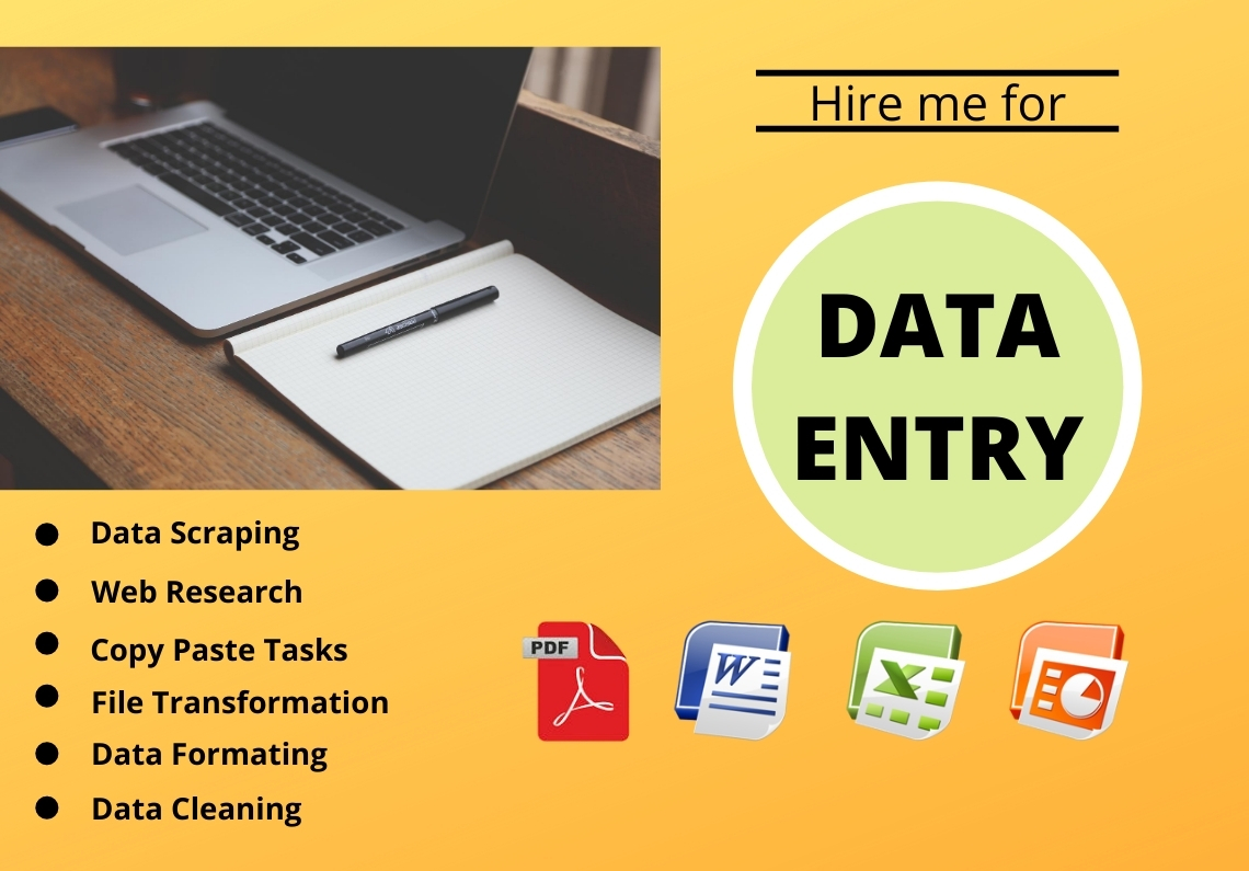 Any type of Data Entry, File Conversion, Copy Paste, Word, Power point, Excel
