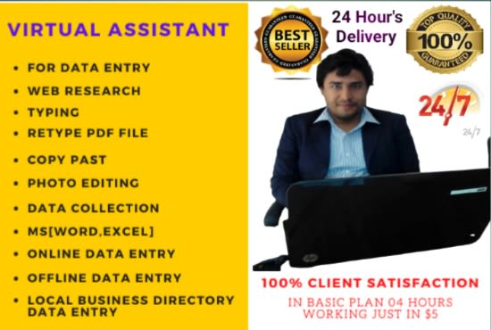I will do all types of data entry,  b2b lead generation,  email list building and web research
