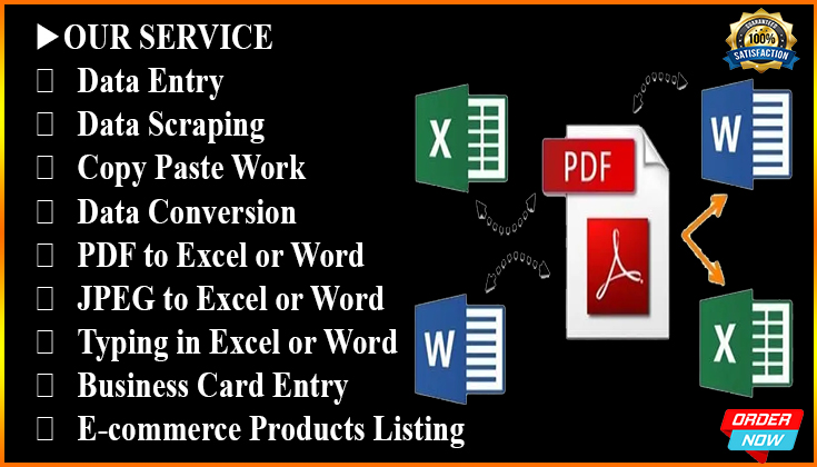 I will do data entry,  copy paste,  web scraping and excel data entry
