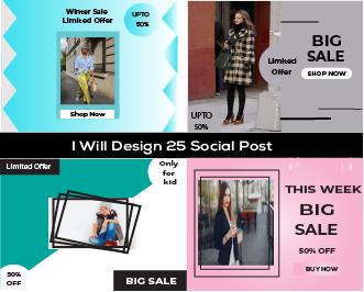 I will create 25 social Media Post Design