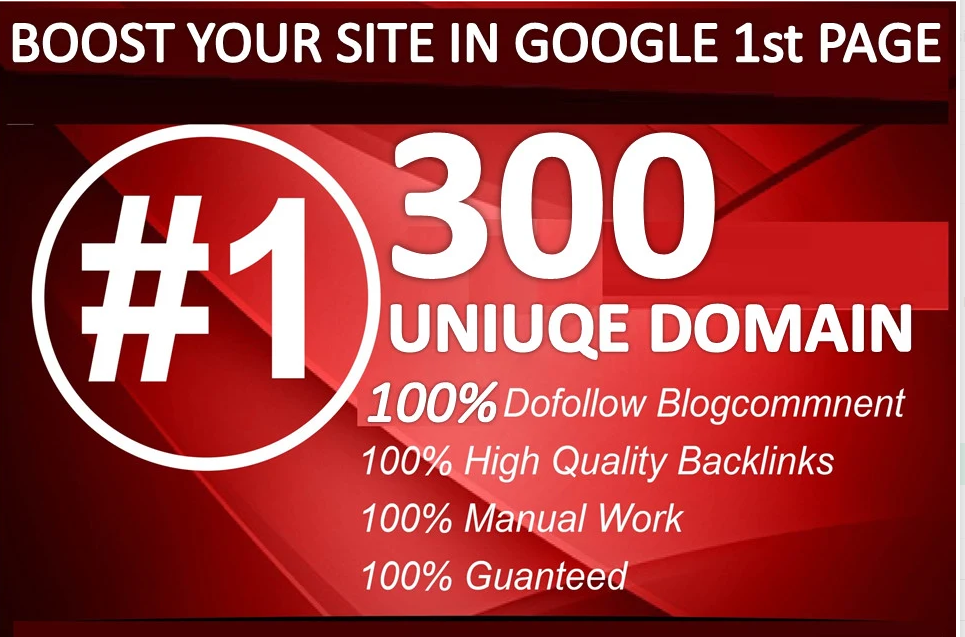 I will do 300 uniuqe domain blog comment backlinks on high da30 plus pr10 wesites
