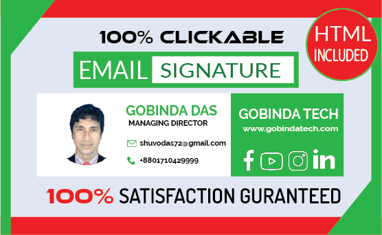 I will Design HTML email signatures or clickable email signature Design
