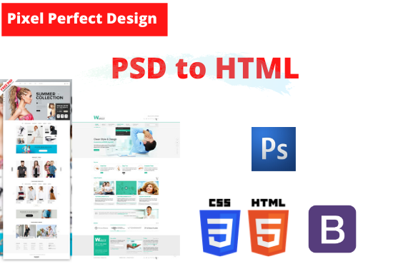 I will convert any design files PSD, Ai, XD to pixel perfect standard compliant HTML/CSS.