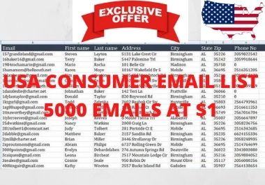 I will provide USA 5000 consumer emails List