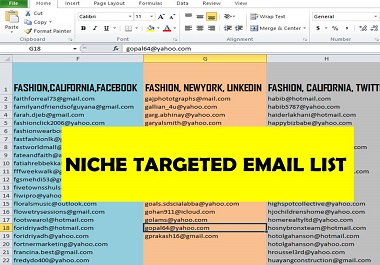 I will provide Niche targeted active EMAIL LIST