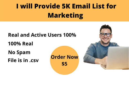 I will Provide 5K Email List for Marketing