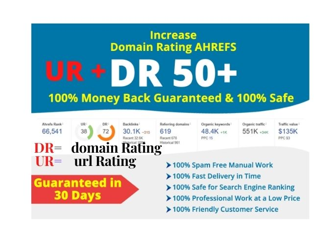 increase domain rating DR and ur url rating on ahrefs to 40 plus