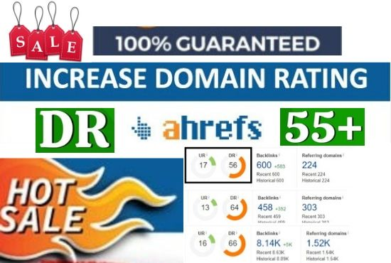 Increase domain rating DR Ahref 50 plus with 100% guaranteed
