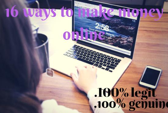teach you 16 legit ways to make money online
