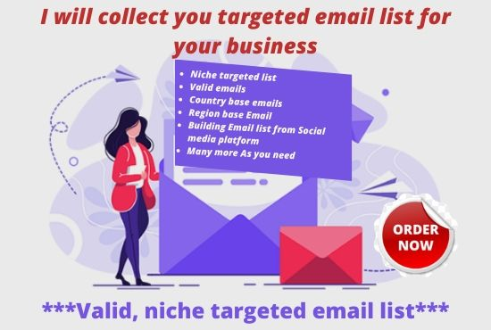 I will Provide 1k Niche Based Email List in 24 hours
