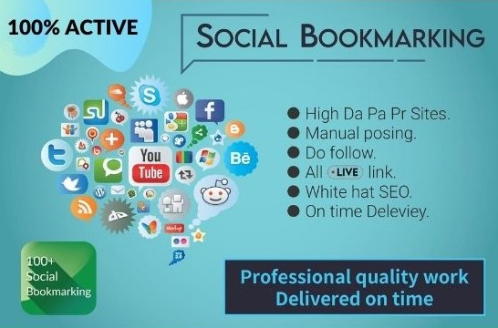 I will create 50 plus high-quality social bookmarking submission in high DA,  PA,  PR sites
