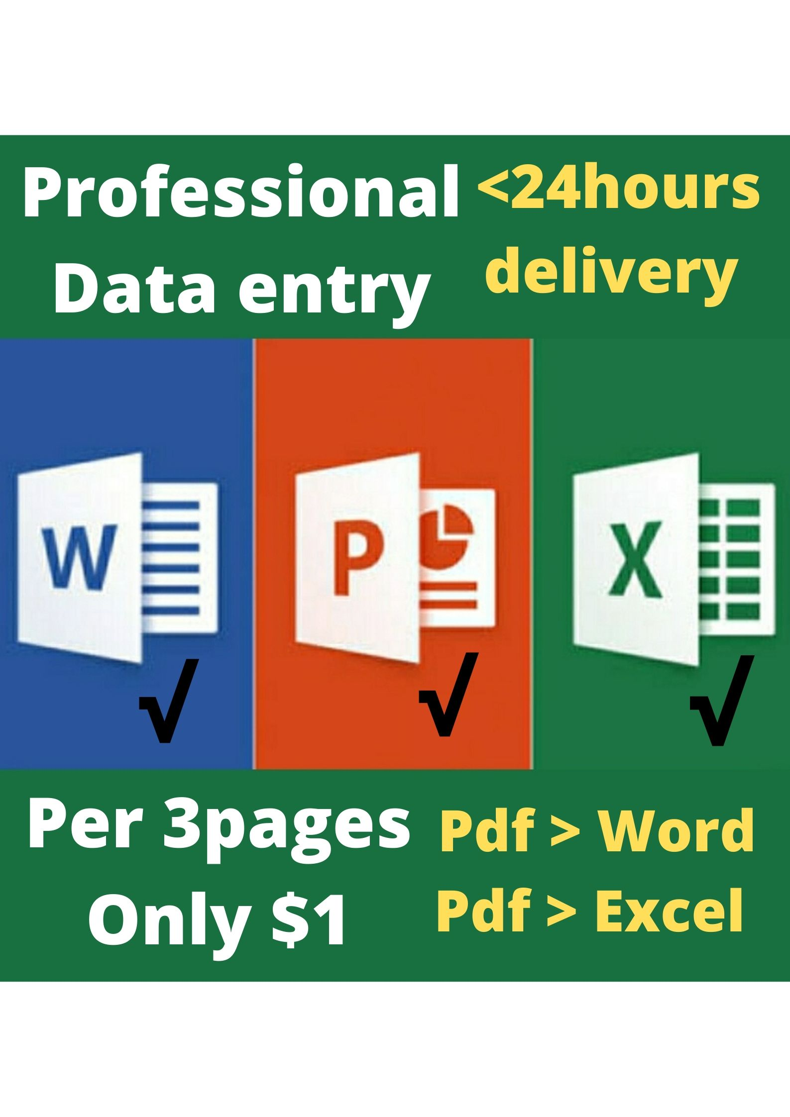 Data entry,  copy paste,  typing,  pdf/image to Word/Excel/Document available