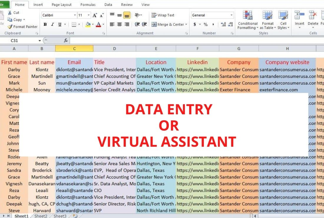 provide data entry,typing work,excel,and virtual assistant job