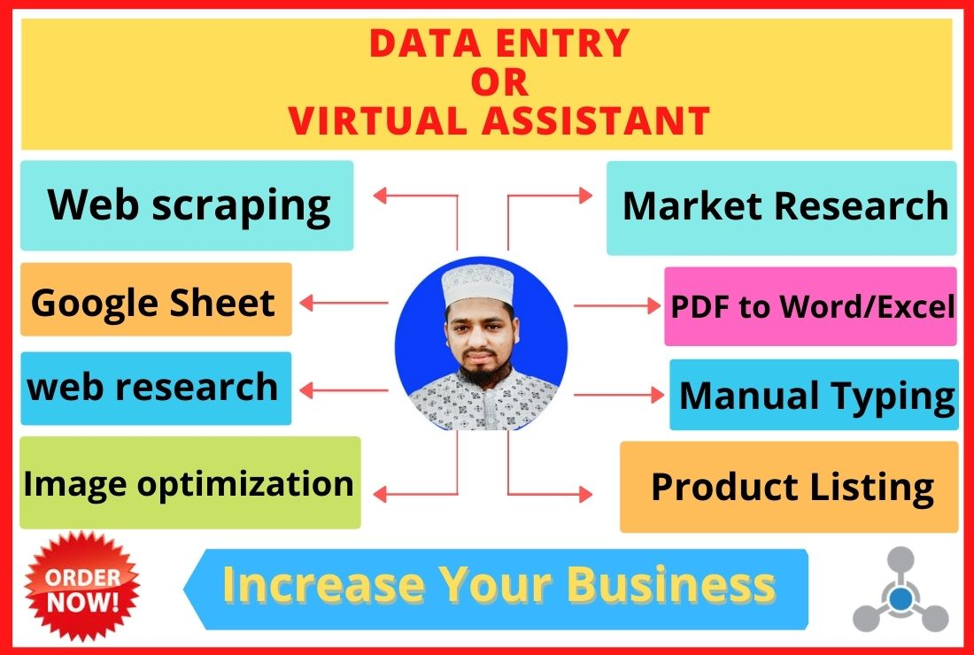 provide data entry, typing work, excel, and virtual assistant job