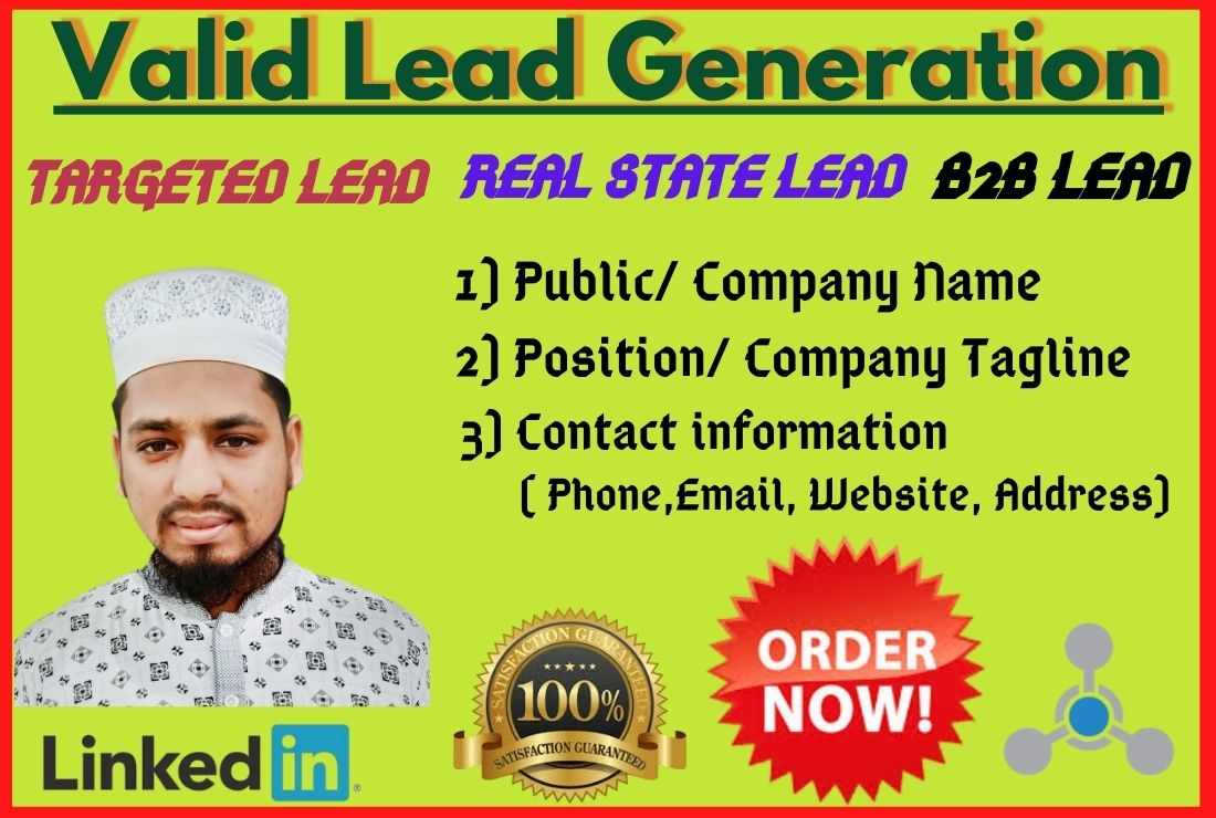 I will lead targeted b2b lead generation and LinkedIn lead generation