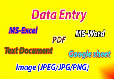 I can do all type of data entry work