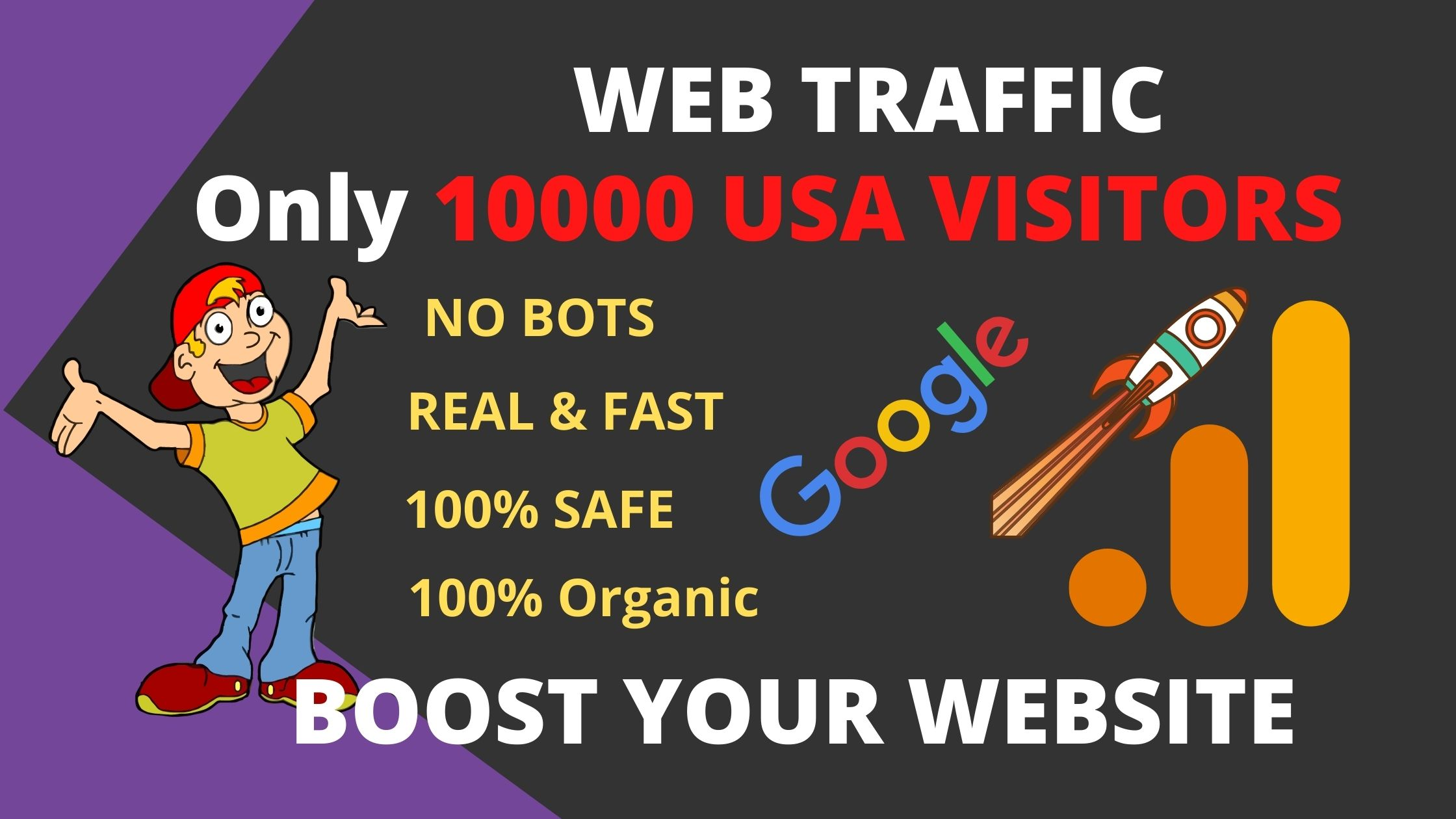 I will drive 10000 USA real organic targeted web traffic