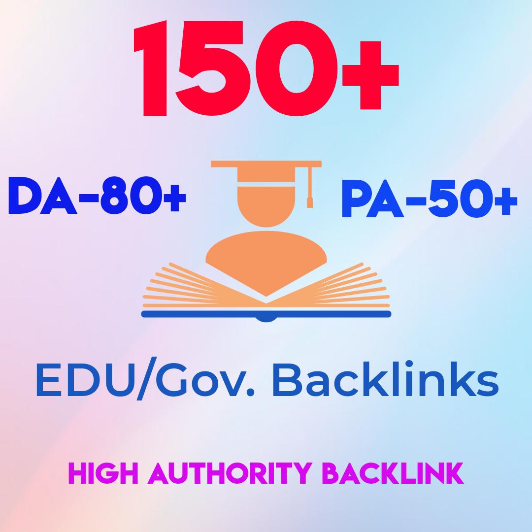 150 EDU/gov. High Quality with High Domains SEO backlinks skyrocket your website rankings