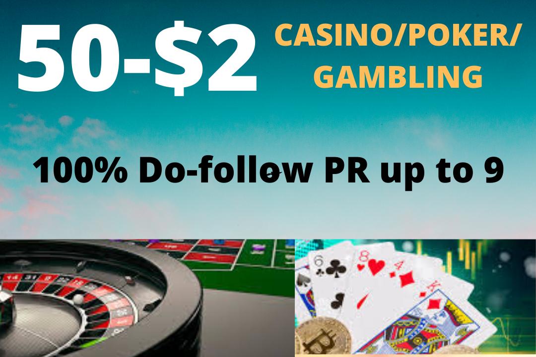 Buy basic package of Gambling, poker, Betting related 50 high quality pr9 links