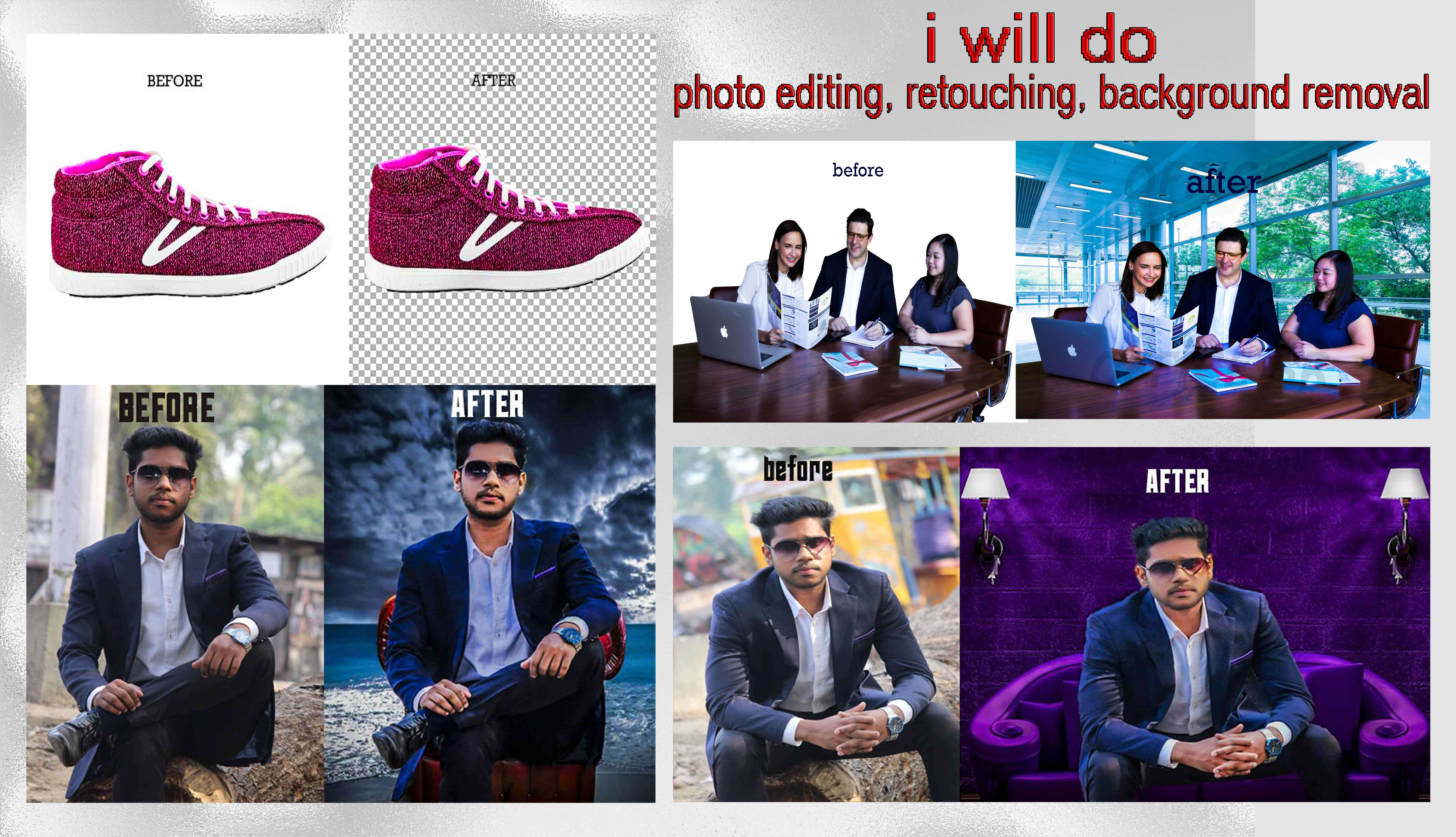 I will do any kind of photoshop photo editing,  retouching,  background removal etc.