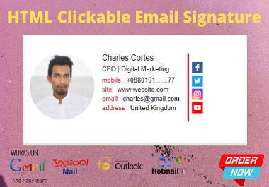 I will create HTML clickable email signature for gmail, outlook and yahoo.