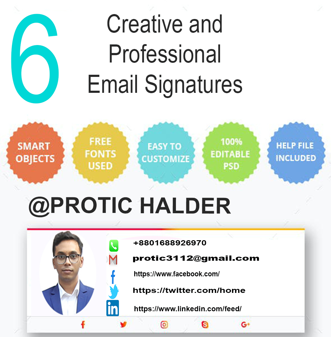 Design a clickable HTML Gmail/Email signature professionally
