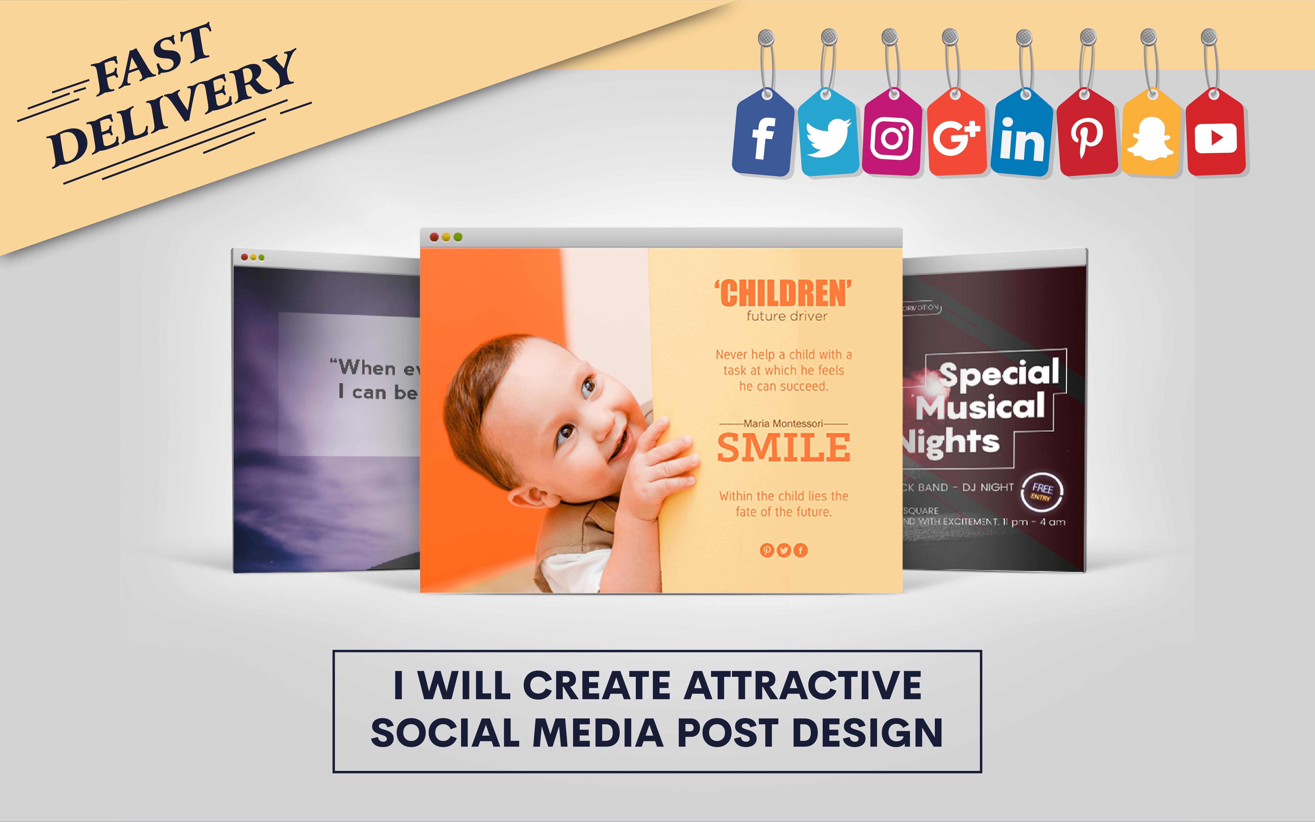 I will create 5 arttractive social media posts design