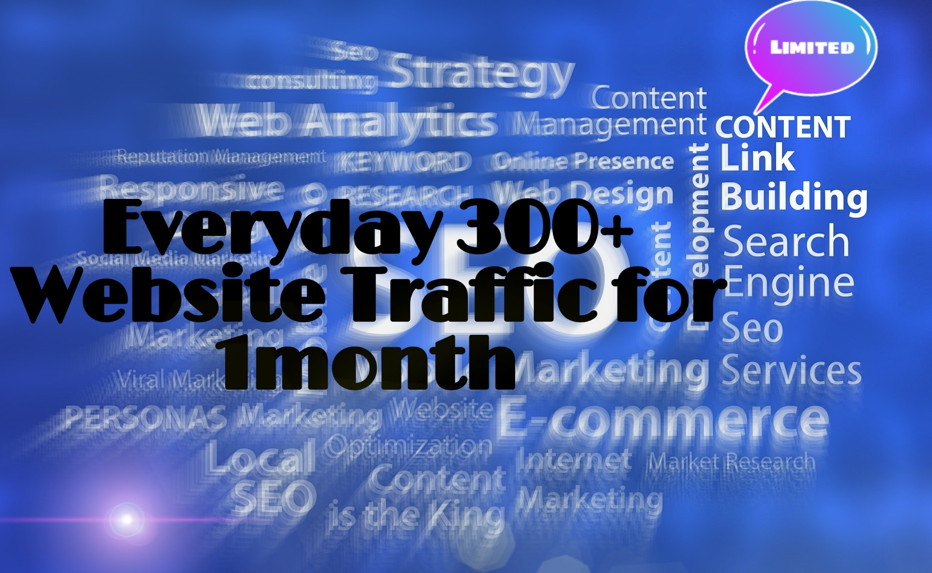 UNLIMITED and genuine real Website TRAFFIC for a month 300+ DAILY VISITORS