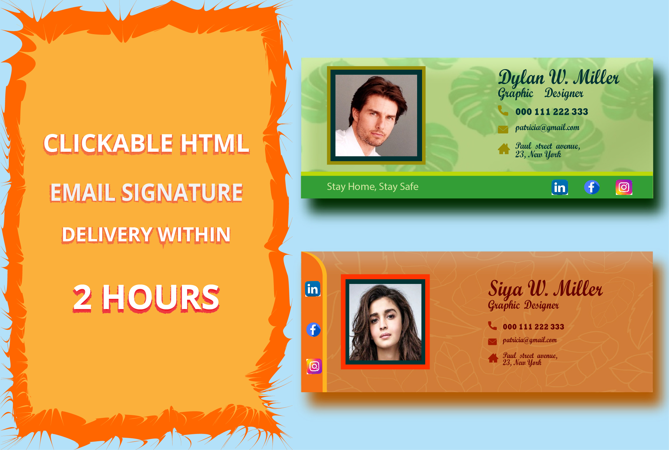 I will design Professional Clickable HTML Email / Gmail signature.