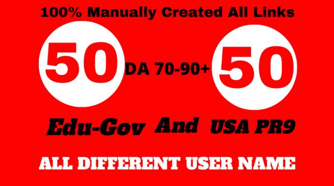 Create 50 USA pr9 high trust authority link building seo profile backlinks