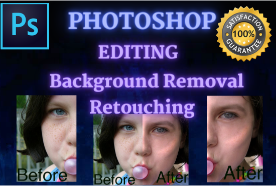 I will do any kind of Photoshop editing,  background removal, Photo retouching and Photo manipulation