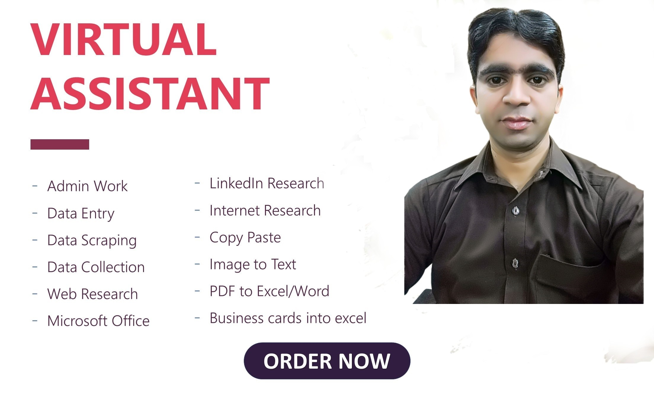 I will perform virtual assistant for excel,  data entry jobs,  typing job,  copy paste work