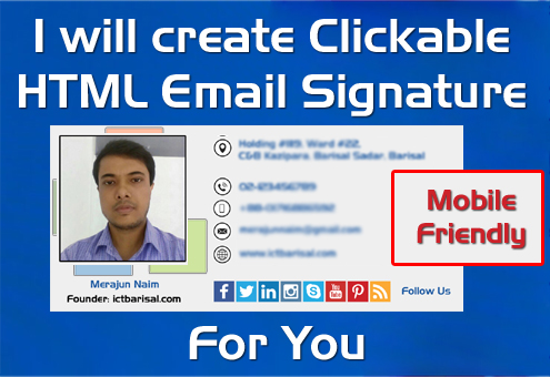 I will create Email Signature Html Email Signature Clickable Signature for you