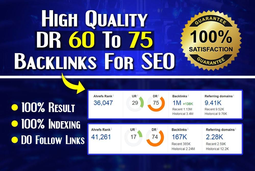 I will do 10 DR 60 to 75 dofollow backlinks for off page seo