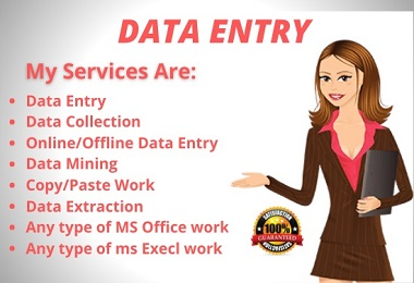 I will do your data entry in virtual assistant and web research