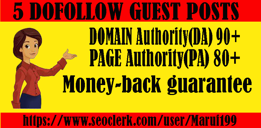 Provide 5 dofollow guest posts on high DA PA sites and boost your website