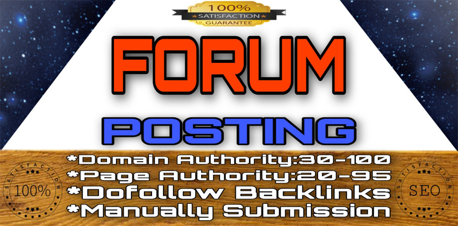 60 Unique High DA, PA DoFoIIow Forum Posting Backlinks